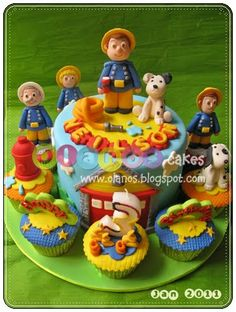 Sam The Fireman by olanos cakes Fireman Sam Cake, Fire Fighter Cake, Cupcakes, Cartoon Characters, Cake Toppers, Birthday Cake, Desserts, Kids, Food