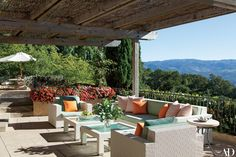 A terrace with furnishings by Janus et Cie.
