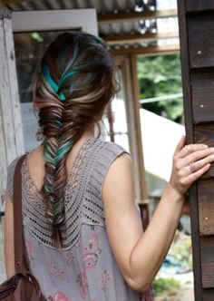"""I love this color scheme! It reminds you of a peacock. Definitely wouldn't want that many streaks though! Maybe a few I'm the bottom layer of your hair so when you put it up it would be like you're """"showing off your feathers"""". Hahaha"""