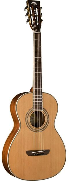 Washburn WP11SNS. This acoustic guitar has a small parlor body and comes with a solid cedar top. Street Price $299. For a detailed guide to Parlor Guitars see https://parlor.guitars/blog/roundup-best-parlor-guitars