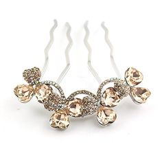 18K Gold Plating Flower Shaped Hair Jewelry, Czech Stones Alloy 4-Toothed Decorative Hair Combs CS21GD Champagne >>> See this great product.