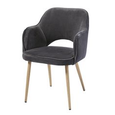 Armchair with velvet cover, gray Teen Furniture, Hallway Furniture, Small Furniture, Grey Armchair, Velvet Armchair, Living Room Chairs, Living Room Furniture, Sun Lounger Cushions, Decorative Storage Boxes