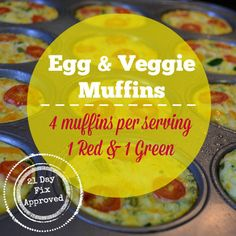 Egg and Veggie muffins - breakfast recipe for the 21 Day Fix program