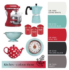 Sherwin Williams color scheme for my kitchen: red, teal / turquoise, grey