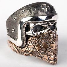 Biker Skull Ring Iron Cross With Bandana Evil Rings