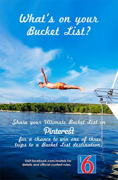 Pin to your Motel 6 Ultimate Bucket List Contest board for your chance to win one of three trips to Niagara Falls, the Grand Canyon or sunny Southern California. #Motel6UBL http://po.st/AfOBE3