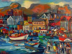 Afternoon at the Waterfront South African Artists, Painting, Painting Art, Paintings, Painted Canvas, Drawings