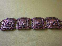 Vintage 60's Eygptian Copper Panel Bracelet by EternalElementsEtsy, $32.00