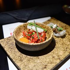 Amuse Bouche of Korean Beef Tartare and Eggplant  Apart from the refined presentation, the tartare ticked all the boxes in terms of perfect balance of flavors and ingredients  Head on over to our website (Link in Bio) for our entire write-up