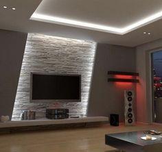Wohnzimmer Tv Wand Design - - Albyna F - Soaking Tubs Tv Wand Design, Wall Design, House Design, Design Design, Design Ideas, Modern Design, Home Lighting Design, Lighting Concepts, Interior Lighting