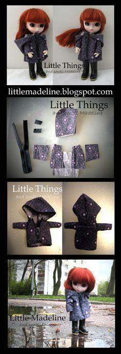 Płaszcz przeciw deszczowy w fioletowym kolorze, z kapturem, dla lalki Little Pullip ciałko Body Obitsu 11cm