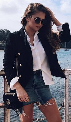 cool outfit idea : black blazer white blouse bag denim skirt