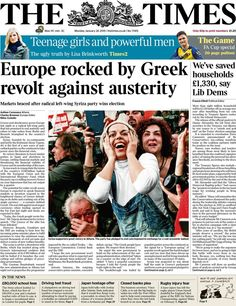 Times front page 26.i.2015