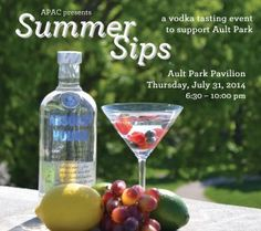 Vodka Tasting at Ault Park $30 for seven one-once tastings from among nearly 40 vodkas, including the finest clear and infused flavors from Absolut, Crystal Head, Grey Goose, Hanger One and OYO, among many others. For more info and tickets go to http://www.aultparkac.org/ault-park-summer-sips/