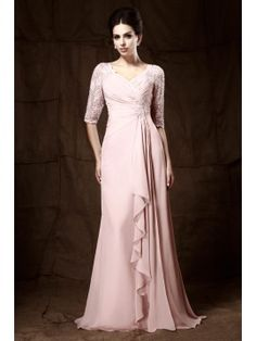 Lace Half Sleeve Mother of the Bride Dress