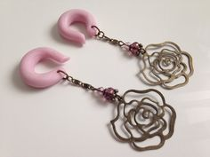 Hey, I found this really awesome Etsy listing at https://www.etsy.com/listing/122462523/dusty-rose-gauged-earrings