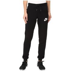 Nike Rally Tight Pant (Black/Black/Antique Silver/White) Women's... ($45) ❤ liked on Polyvore featuring pants, white elastic waist pants, slim fit pants, nike, stretch waist pants and loose fitting pants