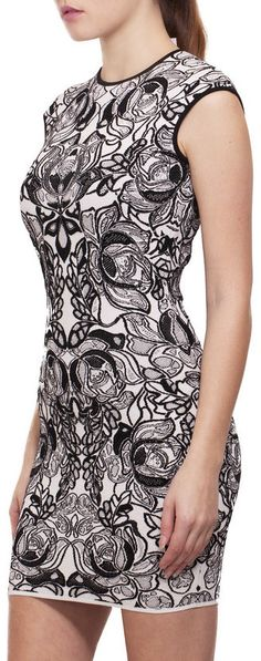 Alexander McQueen Flower Jacquard Dress in black & white.  The attention to detail is uncanny! #trendy