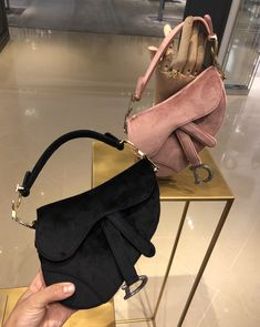 Dior saddle bags in black & pink velvet from the Autumn-Winter 2019 Collection by PSL Unique Handbags, Popular Handbags, Cheap Handbags, Cheap Bags, Purses And Handbags, Tote Handbags, Cheap Purses, Gucci Purses, Handbags Online