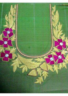 floral work on green blouse Hand Work Blouse Design, Blouse Designs Silk, Bridal Blouse Designs, Hand Work Embroidery, Embroidery Suits, Embroidery Fashion, Blouse Neck Patterns, Designer Blouse Patterns, Col Crochet