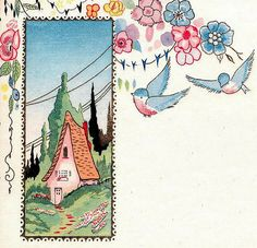 cute cottage and bluebirds