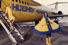 Howard Hughes Airlines stewardesses, 1970s. I was hired by them, too, but chose United....looking at this coat..it's probably a good thing!!!
