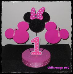 1 Minnie Mouse Centerpiece  Minnie Mouse Party  by GlitterMagic23s, $26.25