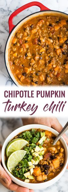Chipotle Pumpkin Turkey Chili recipe made with pumpkin, sweet potatoes, beans and chipotle peppers for a healthy fall meal! (freezer friendly, gluten free) | meal prep | meal planning | ground turkey | pumpkin chili | mexican chili | diet friendly