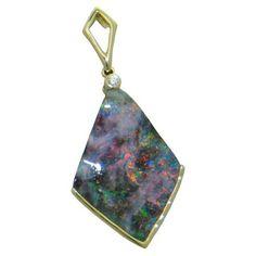 Opal Pendant in 14 ky https://www.goldinart.com/shop/colored-gemstones-necklaces/opal-pendant-14-ky #14KaratYellowGold, #Opal