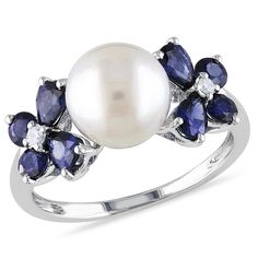 "Delmar Jewelers 10K White Gold Cultured Freshwater Pearl, Diamond and Sapphire ""Flower"" Ring"