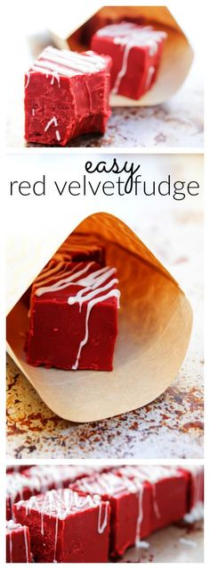 Easy Red Velvet Fudgea holiday must have. Made in the microwave & made with only 8 ingredients, delicious fudge can't get much easier!  #fudge #redvelvetrecipes   #easyfudge #microwavefudge