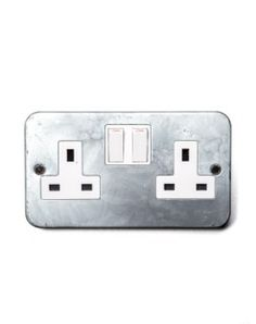 Galvanised Double Wall Socket Switched Vintage Studio Green Office Pods Outlets