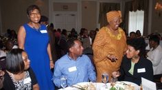 Carol Fowler (in blue dress) at the dinner her family turned into a charity event after her daughter's wedding was canceled. (Human interest story for students in ELAR, Social Studies, or Advisory) African American News, Cat Wedding, Charity Event, Atlanta Wedding, Event Dresses, Wedding Planning Tips, Wedding Reception, Reception Food, Wedding Dinner
