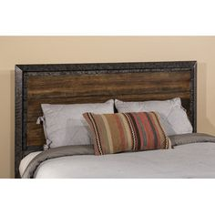 Makeover your master bedroom with the Mackinac Headboard with Frame from Hillsdale for modern, yet rustic appeal. A striking centerpiece, the all metal headboard is studded with nailhead trim and paired with faux driftwood for a durable, weathered look. Queen Headboard, Panel Headboard, Rustic Living Room Furniture, Home Furniture, California King Bedding, Hillsdale Furniture, Cozy Bed, Headboards For Beds, Luxury Bedding