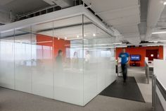 Glass wall Graphics - Kayak Startup Tech Office meeting cube with graduated glass frosting and orange feature wall. Office Space Design, Workplace Design, Office Interior Design, Office Designs, Office Ideas, Corporate Interiors, Office Interiors, Best Office, Office Tv