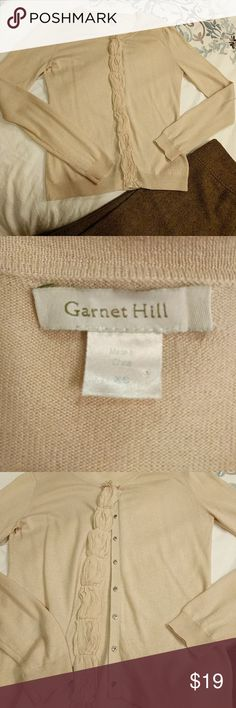Garnet Hill Cardigan! Incredibly soft and beautiful cardigan! Silk, wool, cashmere blend made it an incredible layering piece. Color is a beautiful champagne tone that goes with anything!! garnet hill Sweaters Cardigans
