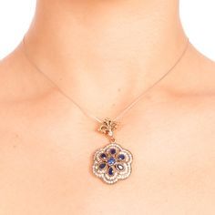 The Zerbap Anica Pendant  with Zircon Sapphire Stones by Rosestyle, $42.00