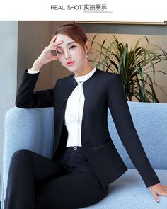 3b22d9398d9 KUNIZI Elegant Design Curve Neck Career Women Blazer Suit Coat Pant Set  Official | eBay