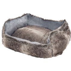 Faux Fur Dog Bolster Bed with Removable Cover