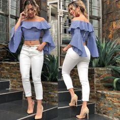 Best Summer Fashion Part 2 Casual Chic, Casual Wear, Classy Outfits, Casual Outfits, Summer Outfits, Beautiful Outfits, Blouse Styles, Blouse Designs, Girl Fashion