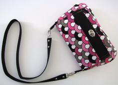 Pink and Black Long Strap Crossbody Bag