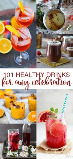 101 Healthy Drinks for any Celebration! Mocktails, cocktails, cocoas, ciders, teas, coffees... there's something here for everyone! RaiasRecipes.com