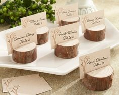 Rustic Wood Place Card Holders could probably make something like this maybe switch It up and do half logs on their sides