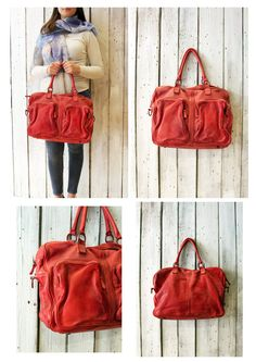 TASC bag 12 -Handmade Italian red Leather Messenger Bag di LaSellerieLimited su Etsy