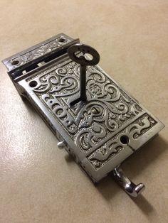 Late 19th century H&T Vaughan English made rim lock.
