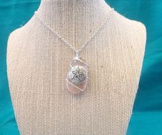Pink Sea Glass Necklace with Sand Dollar Charm, $20.00