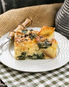 Gruyere Spinach Strata A terrific cheesy breakfast casserole made with bread, French Gruyere and spinach!