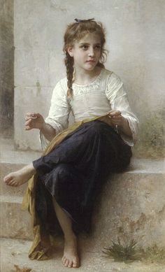 Sewing ~ William-Adolphe Bouguereau 1898......In the late 19th century, and, indeed well into the 20th, sewing was considered a necessary accomplishment for any woman, and young girls were trained in it from a young age. This painting captures a young girl practicing this art