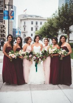 marsala maxi bridesmaids' gowns and blush one shoulder ones for the bride's sisters