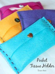 Easy Beginner sewing project for kids: DIY Felt Pocket Kleenex Tissue Holders